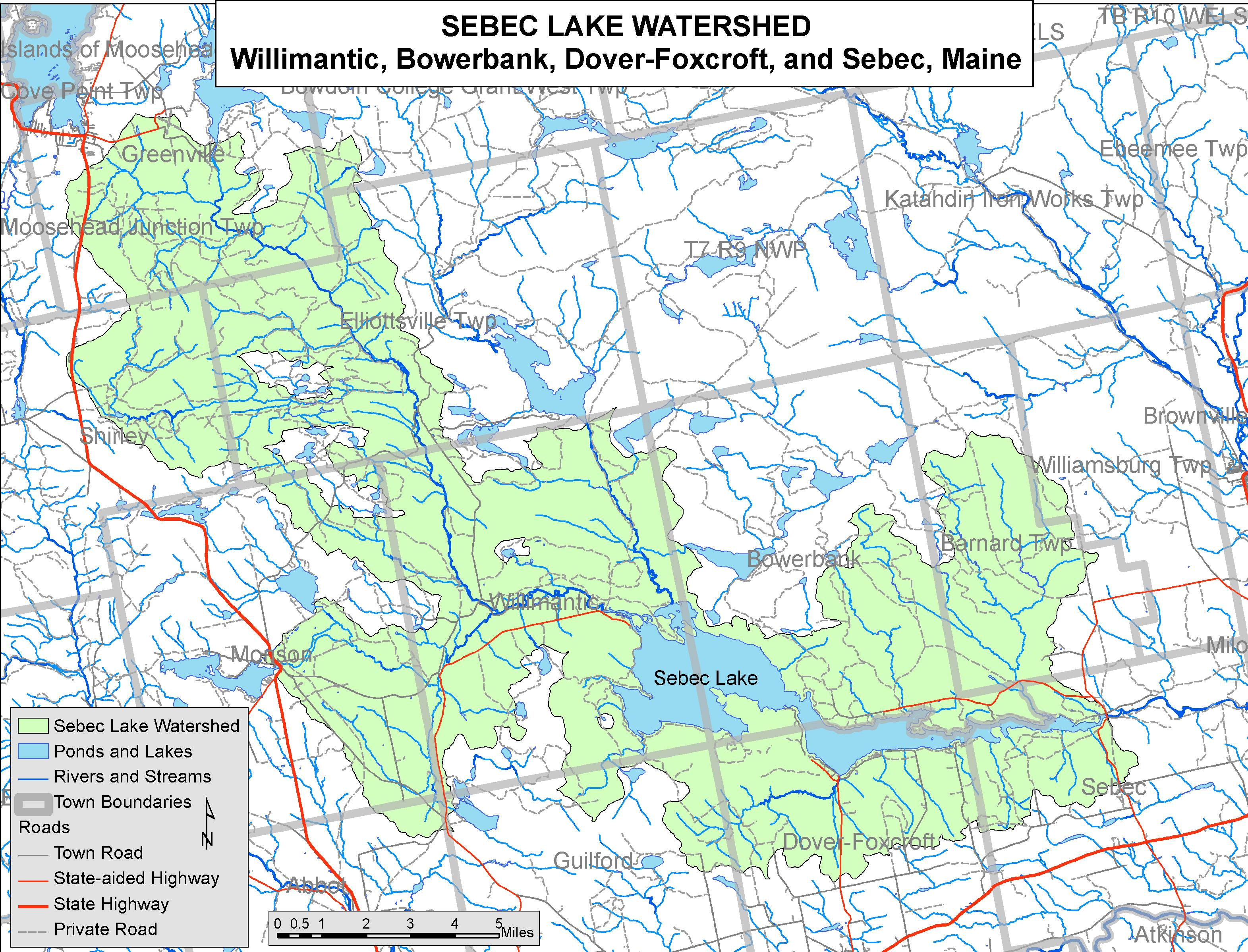 Lakes Of Maine Lake Overview Sebec Lake Bowerbank Dover - Maine lakes map