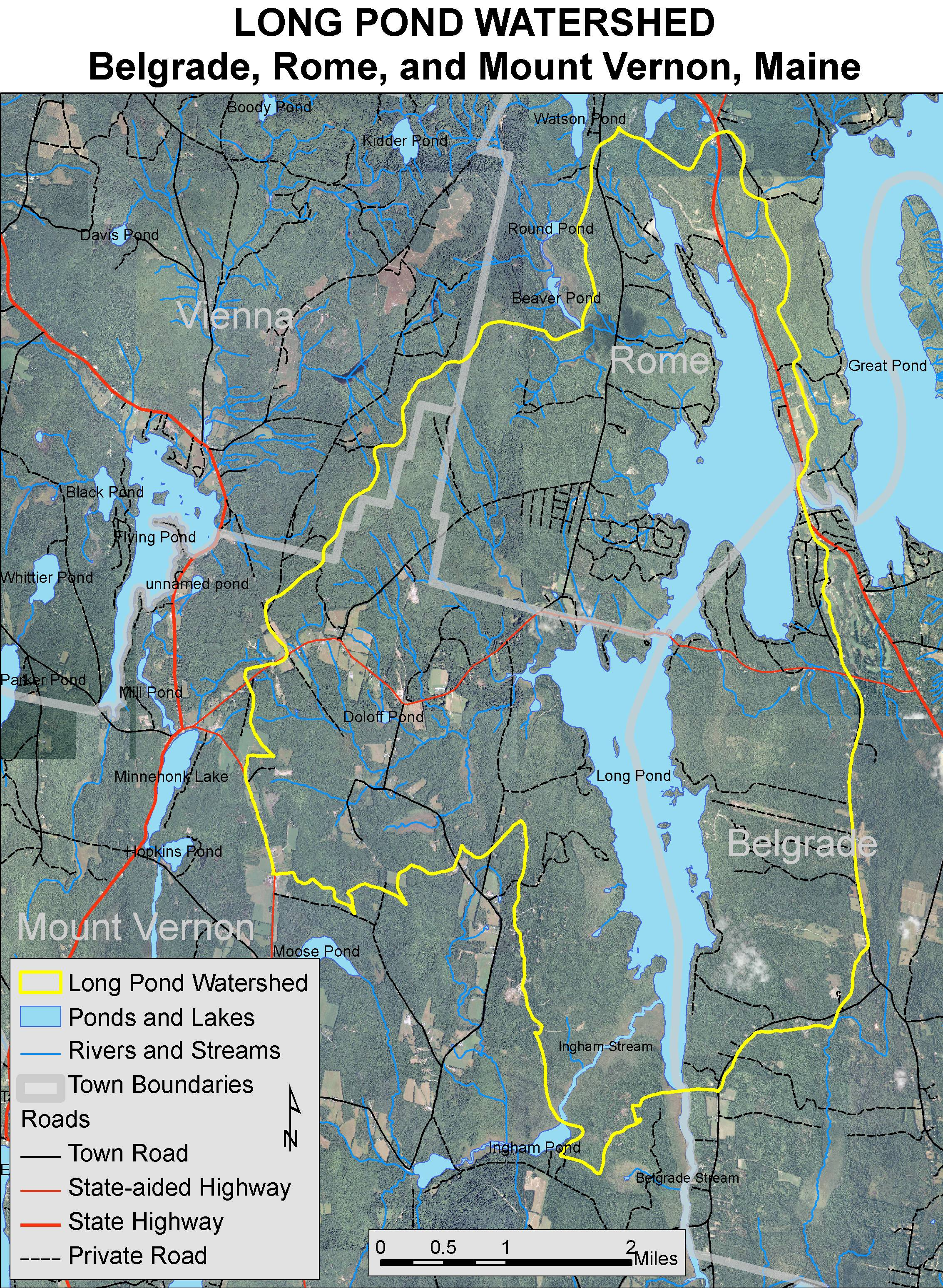 Lakes Of Maine Lake Overview Long Pond Belgrade Mount - Maine lakes map