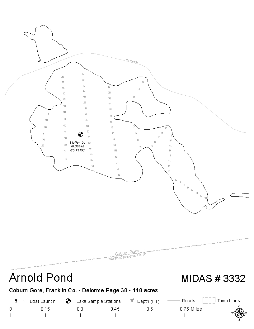 Lakes of maine lake overview arnold pond coburn gore for Pond depth for fish