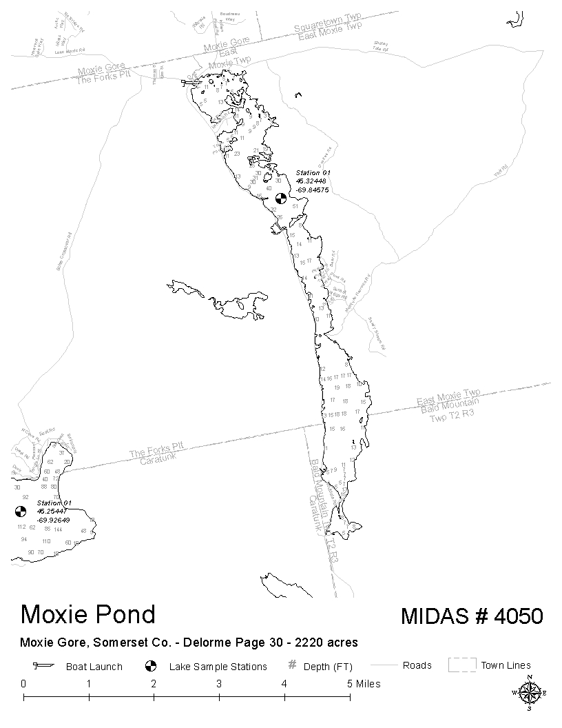 Lakes of maine lake overview moxie pond the forks for Pond depth for fish
