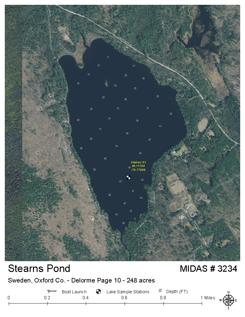 Lakes Of Maine Lake Overview Stearns Pond Sweden Oxford Maine - Sweden maine map