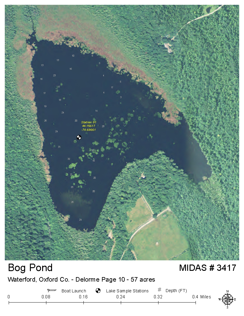 Lakes of maine lake overview bog pond waterford for Pond depth for fish