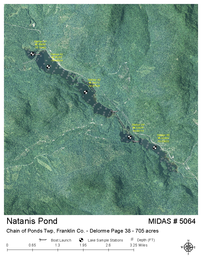 Lakes of maine lake overview long pond lower for Pond depth for fish
