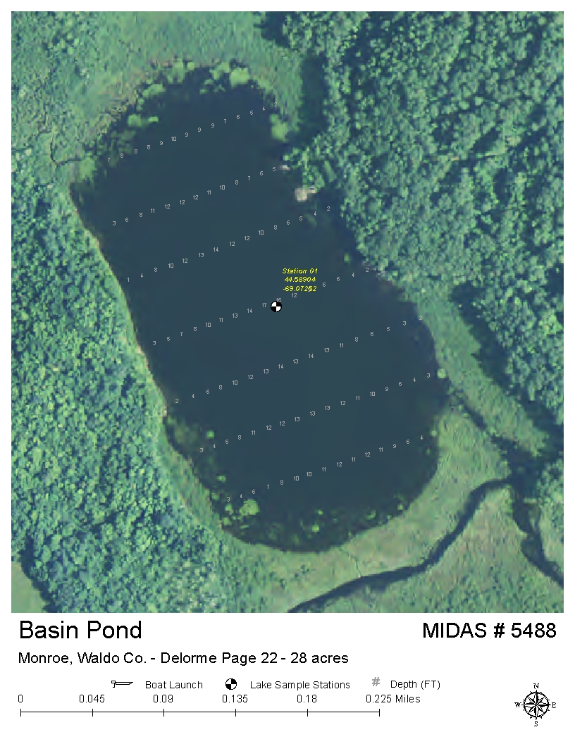 Lakes of maine lake overview basin pond monroe for Pond depth for fish