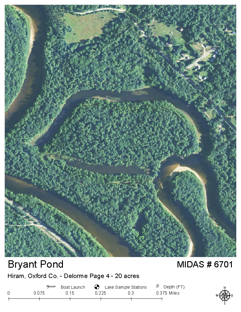 Lakes of maine lake overview bryant bryants pond for Pond depth for fish
