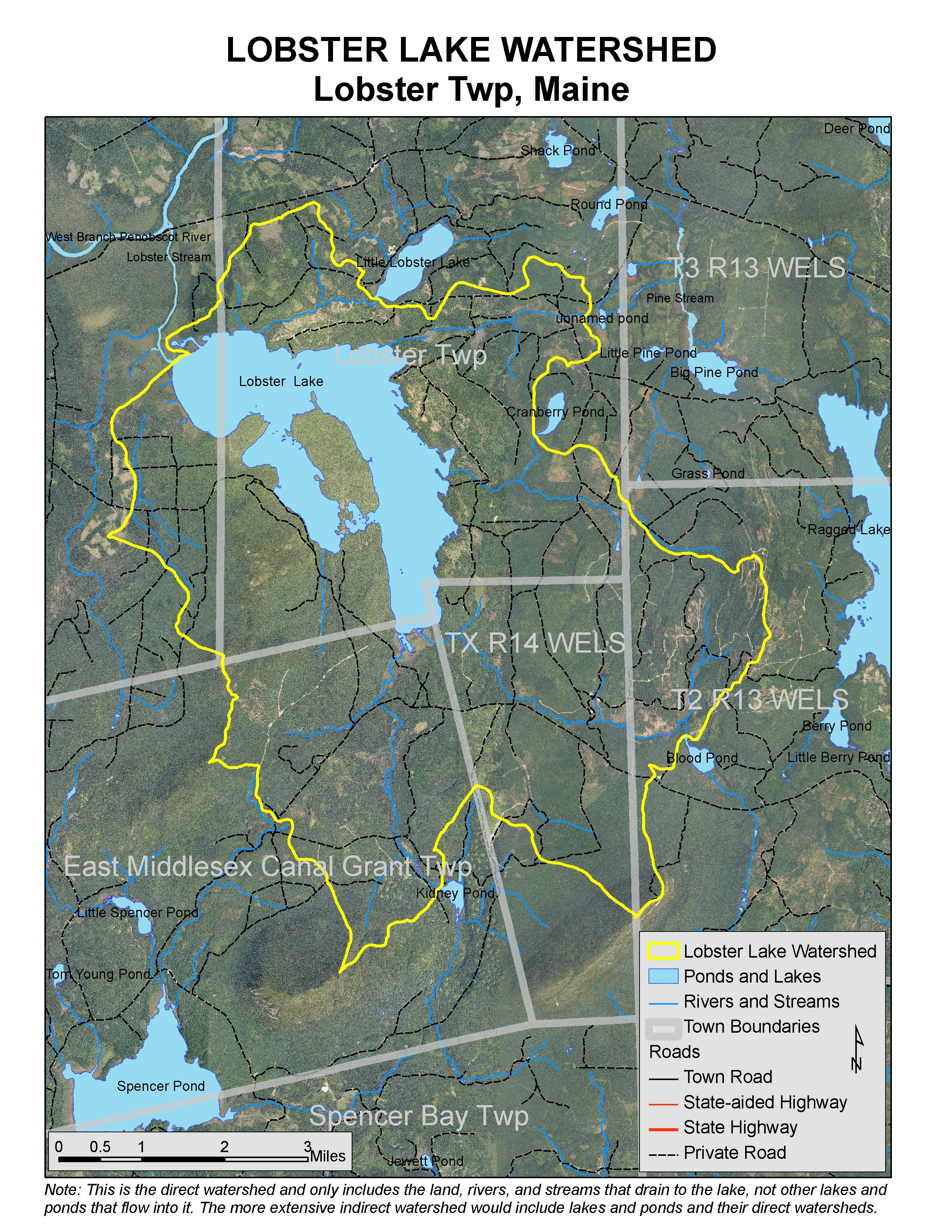 Lakes Of Maine Lake Overview Lobster Lake East Middlesex Canal - Maine lakes map