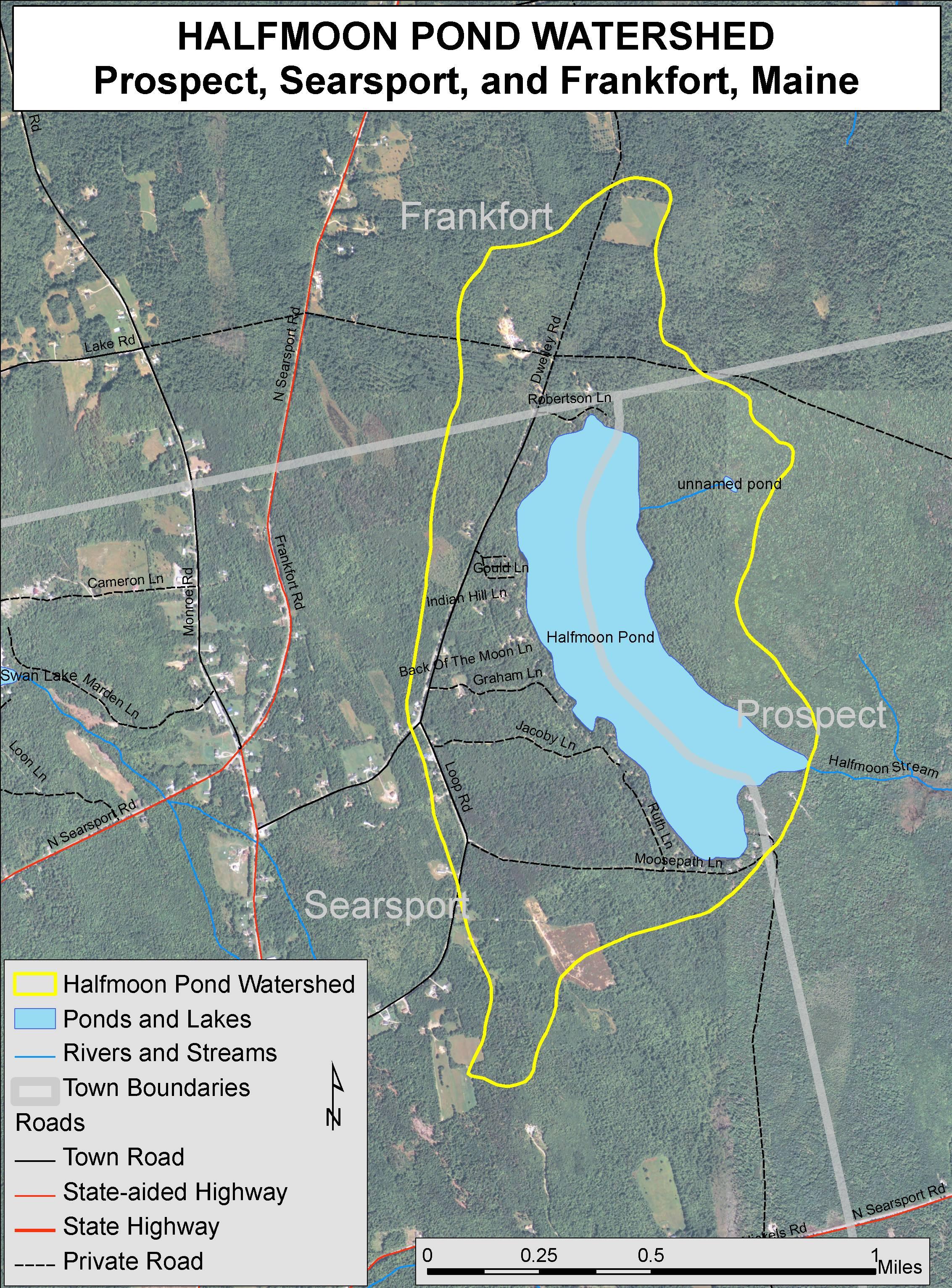 Lakes of Maine - Lake Overview - Halfmoon Pond - Prospect ... on arlington maine map, katahdin maine map, fairfield maine on map, swan's island maine map, bangor maine map, jonesport maine map, maine maine map, wilmington maine map, maine hardiness zone map, camden maine map, belfast maine map, maine blueberry map, warren maine map, brewer lake maine map, ogunquit maine map, dedham maine map, dixfield maine map, yarmouth maine map, cape jellison maine map, bath maine map,