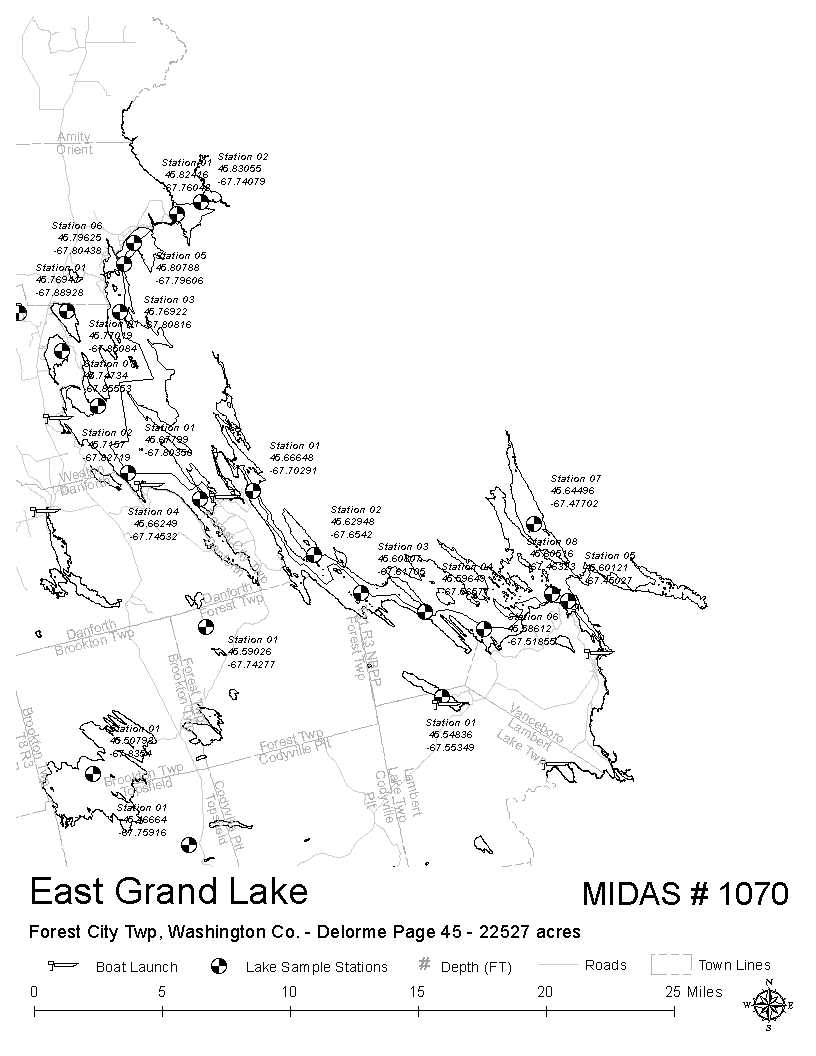 Danforth Maine Map.Lakes Of Maine Lake Overview East Grand Lake Orient Weston