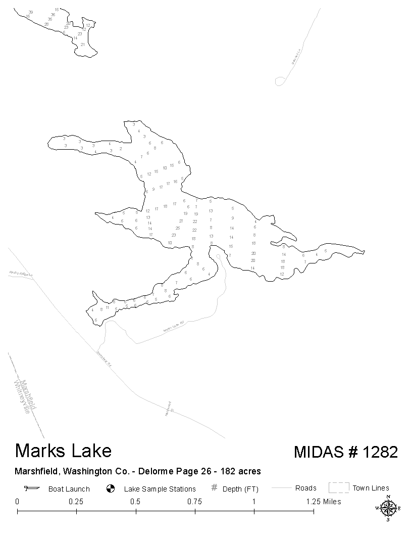 Lakes Of Maine Lake Overview Marks Lake Marshfield Washington - Marks lake maps