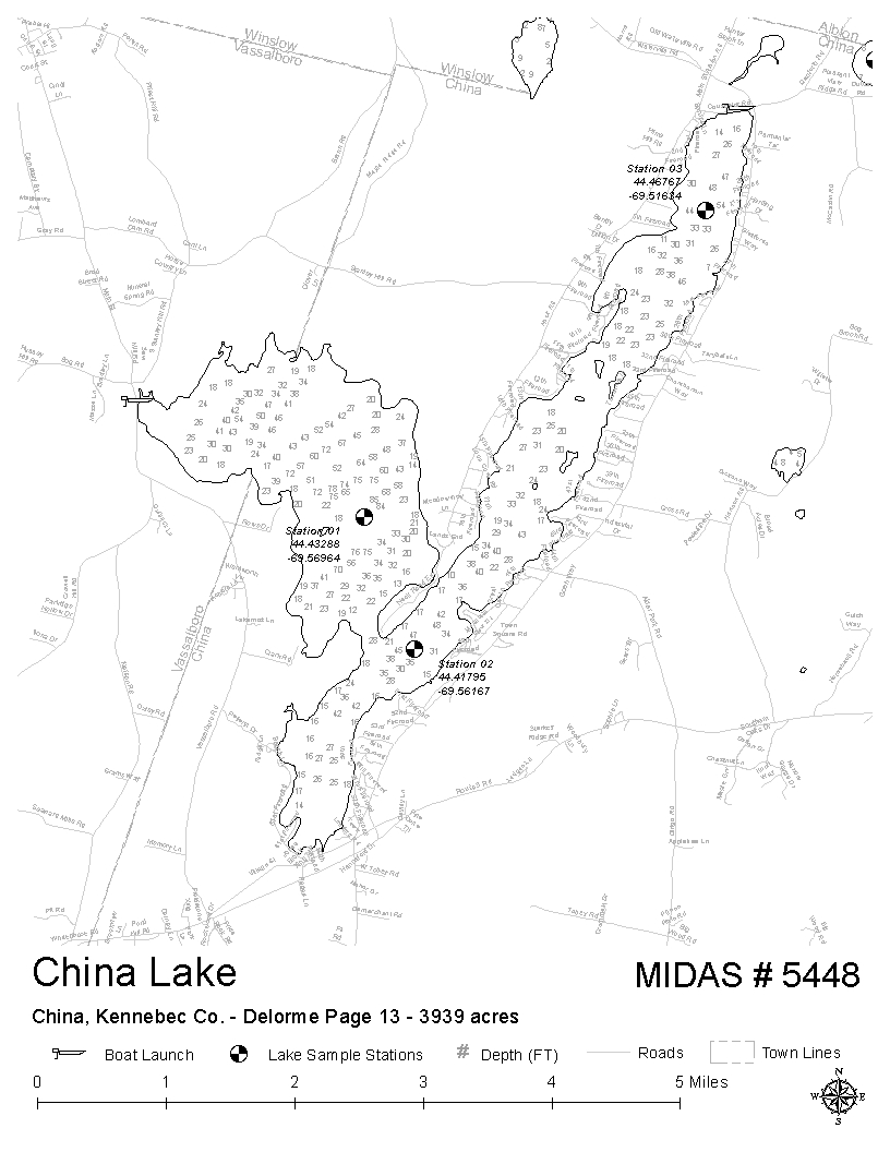 China Lake Maine Map.Lakes Of Maine Lake Overview China Lake China Vassalboro