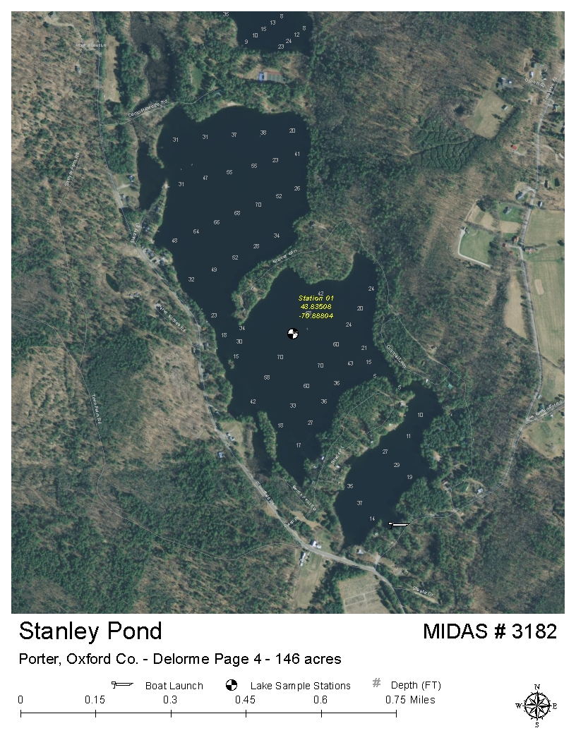 Porter Maine Map.Lakes Of Maine Lake Overview Stanley Pond Hiram Porter