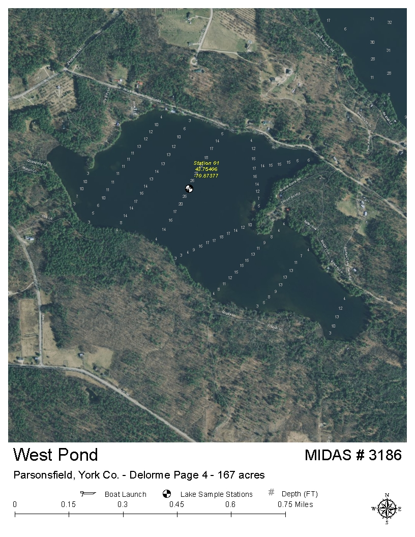 Parsonsfield Maine Map.Lakes Of Maine Lake Overview West Pond Parsonsfield York Maine