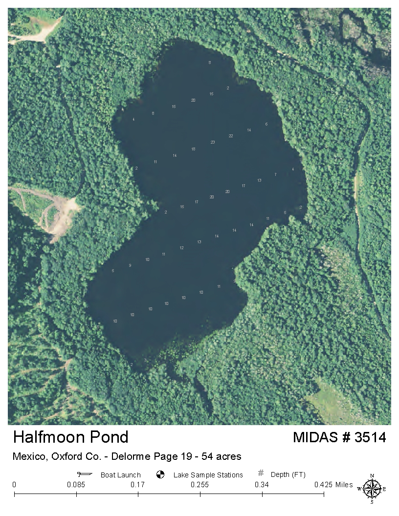 Mexico Maine Map.Lakes Of Maine Lake Overview Halfmoon Pond Carthage Mexico