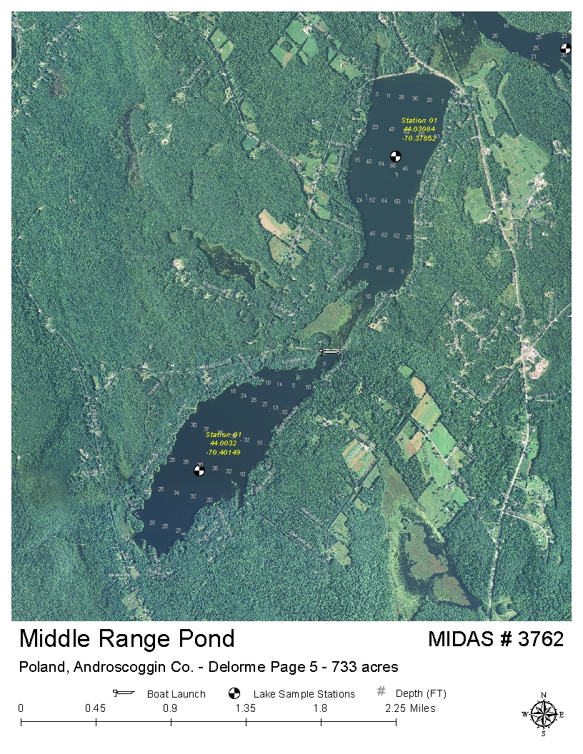 Poland Springs Maine Map.Lakes Of Maine Lake Overview Middle Range Pond Poland