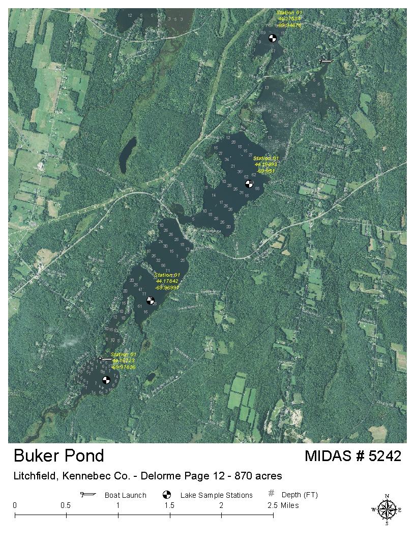 Litchfield Maine Map.Lakes Of Maine Lake Overview Buker Pond Tacoma Lakes